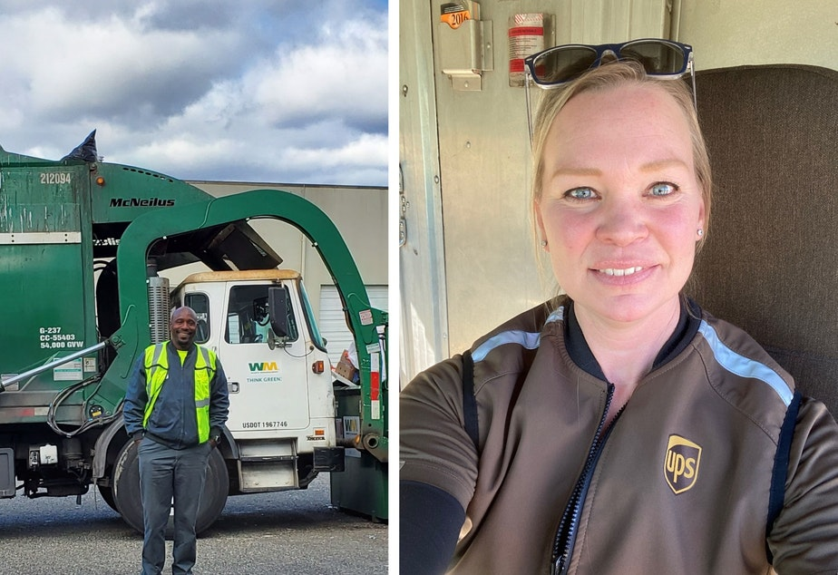 "caption: Waste Management and UPS drivers are among the 158 different kinds of jobs allowed to continue working out in the world. They are exceptions to Governor Inslee's order to ""Stay Home, Stay Safe"" in order to slow transmission of the coronavirus."