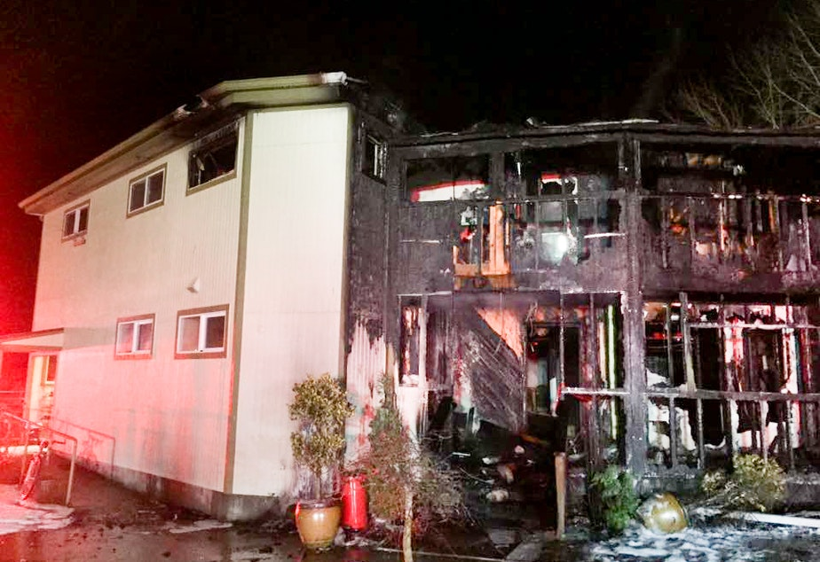 A fire on Saturday morning burned down a large part of the Islamic Center of the Eastside, a mosque in Bellevue.