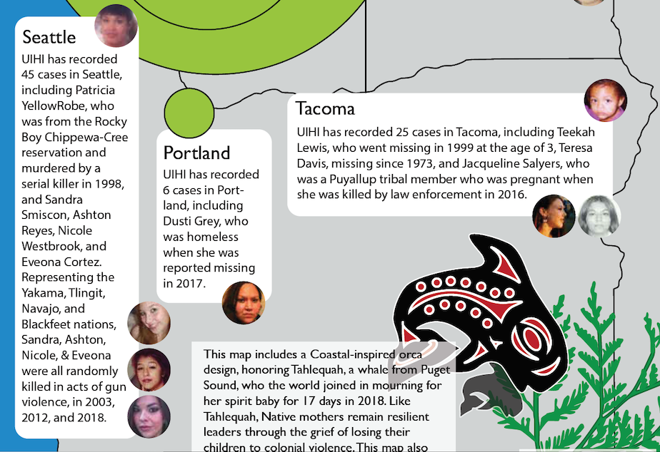 A screenshot from the report by the Urban Indian Health Institute highlights some of the findings in the Pacific Northwest.