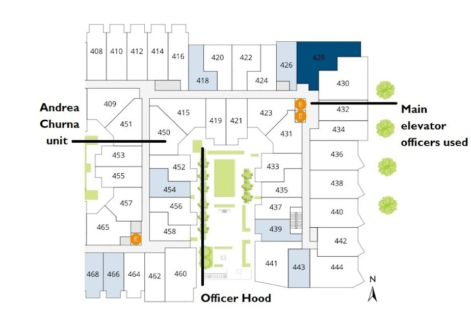 caption: The fourth-floor layout of the Modera Apartments where Andrea Thomas Churna was shot in September 2020. The officers who shot her are not included in this diagram because it is unclear where they were staged.