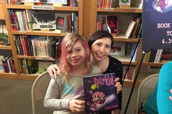 Debi and Avery Jackson at the book launch party in Seattle for Avery's book, 'It's Okay to Sparkle.'