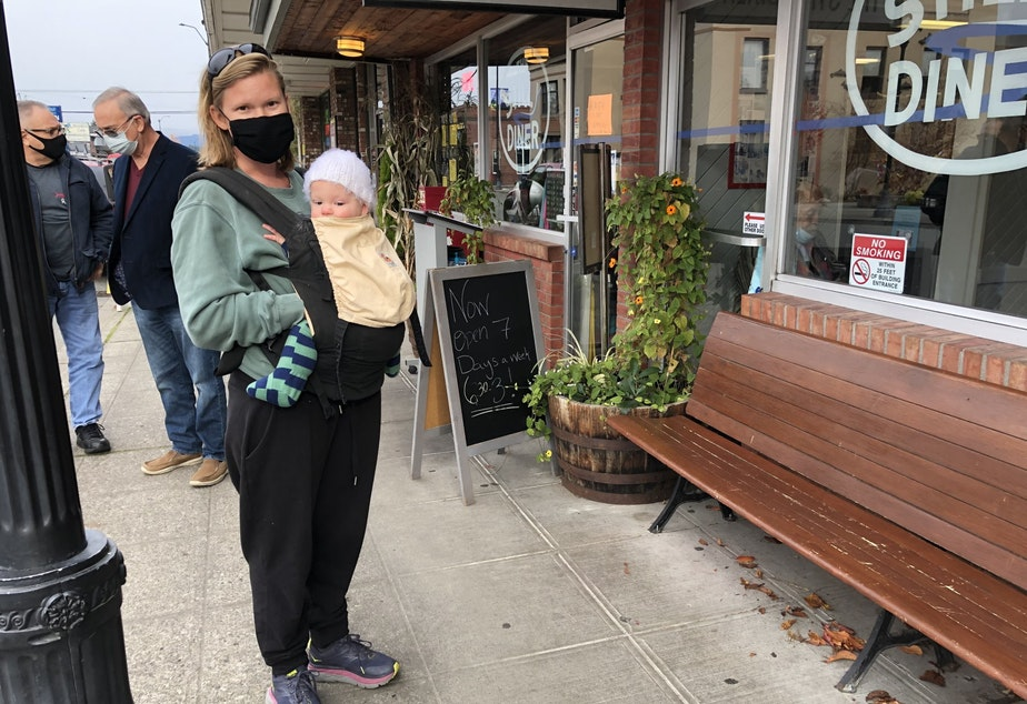 caption: Laura Roundy outside the Stilly Diner in downtown Arlington, Washington