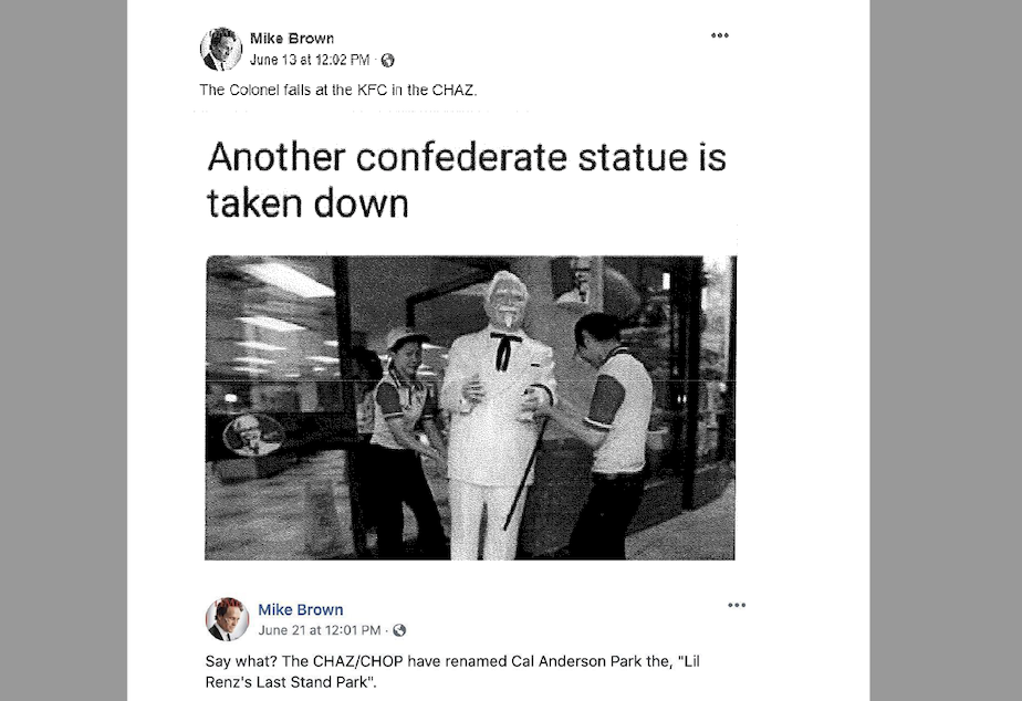 caption: Det. Michael Brown of the King County Sheriff's Office posted this meme on June 13, 2020, to his Facebook page. Investigators within the Sheriff's Office used it as part of a recommendation that Brown be terminated.
