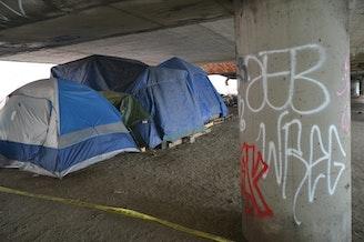 A homeless encampment under I-5 in January 2016.