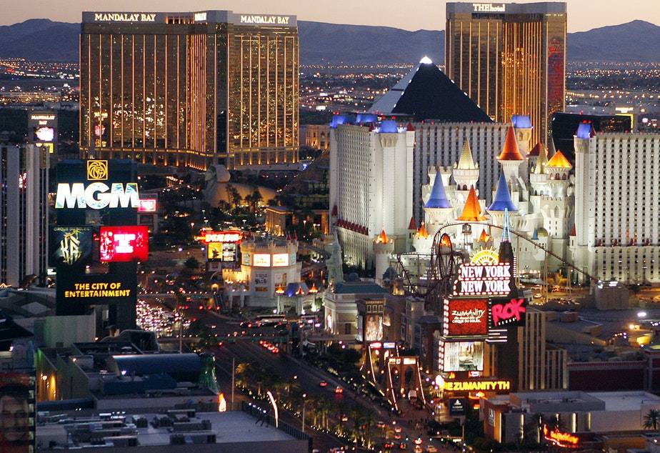 caption: The Las Vegas Strip pictured here in a 2009 photo. On Wednesday, the city's city council passed an ordinance banning sleeping or camping in the city's downtown and residential areas as long as there are spaces available in homeless shelters.