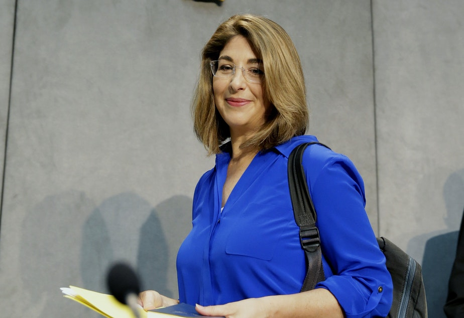 FILE - In this July 1, 2015 file photo, Naomi Klein arrives for a news conference at the Vatican.