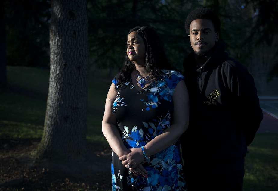 caption: Sanetta Hunter and Josiah Hunter at their home in Federal Way, Washington. Josiah Hunter recently won a lawsuit against Federal Way after an officer placed him in a neck restraint in 2014.