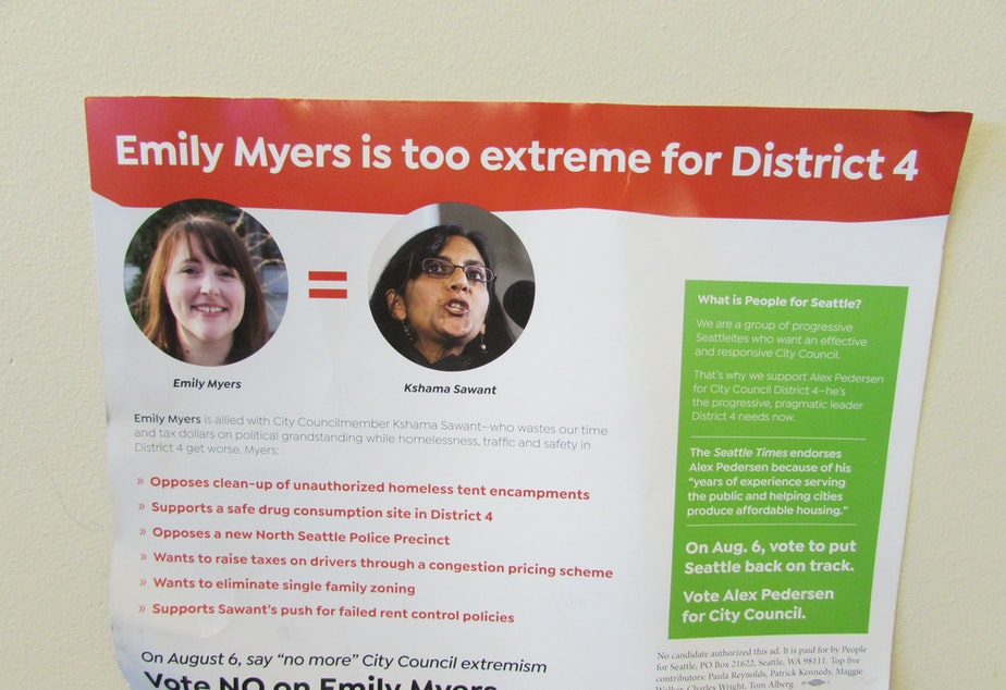 The People for Seattle mailer equates city council candidate Emily Myers with incumbent Kshama Sawant.