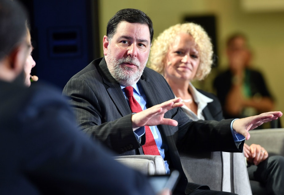 caption: Pittsburgh Mayor Bill Peduto at a city climate action event in San Francisco in September. Peduto is representing U.S. mayors at the United Nations climate meeting underway in Katowice, Poland, this week.