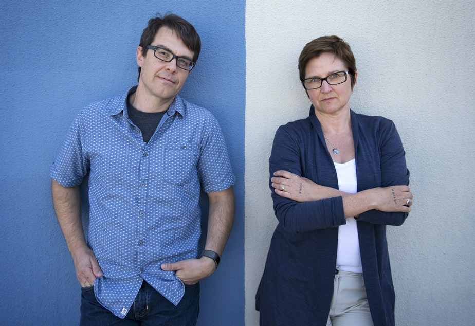 caption: Reporters Joshua McNichols and Carolyn Adolph are on KUOW's Region of Boom team. The team has been spending time outside of Seattle, to see how the city's explosive growth is affecting the region.