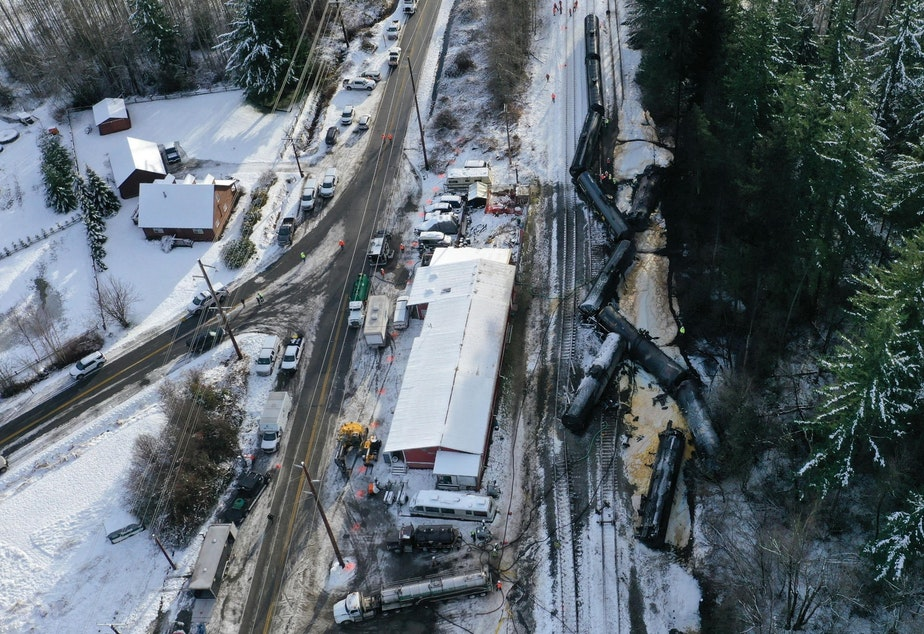 caption: The wreckage of a derailed oil train in Custer, Washington, on Dec. 23