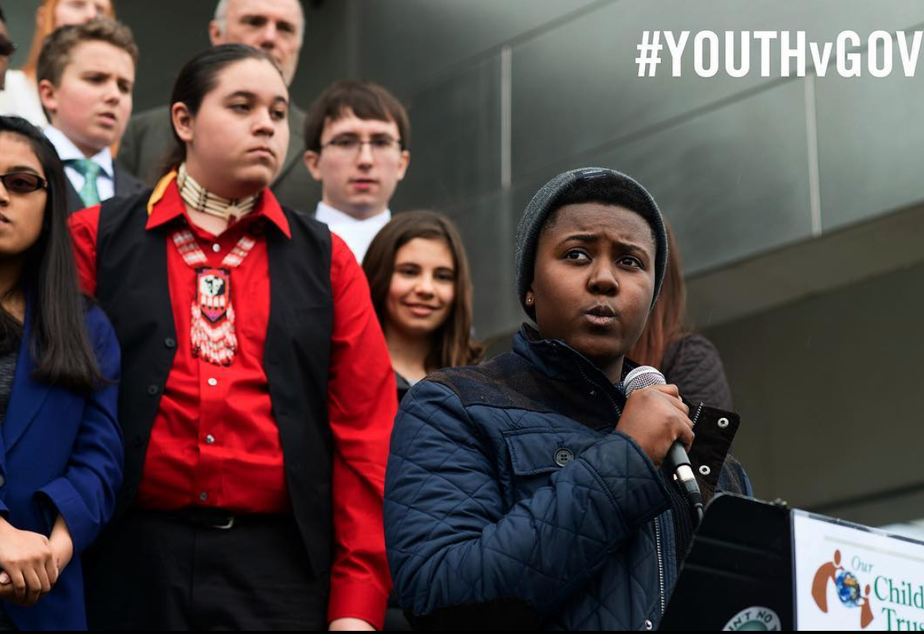 caption: 'People my age are fighting the hardest when really, like, we didn't even start this in the first place.' Victoria Barrett is one of the plaintiffs in Juliana Vs. The United States.