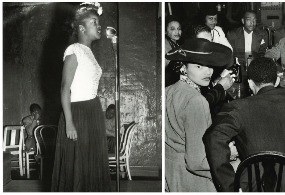 Left, Ernestine Anderson, like still a student at Garfield High School in Seattle's Central District, performing at the Black and Tan. Right, Duke Ellington at the Civic Auditorium in 1949. (To help us ID individuals on the right, note the photo number. This is #12.)