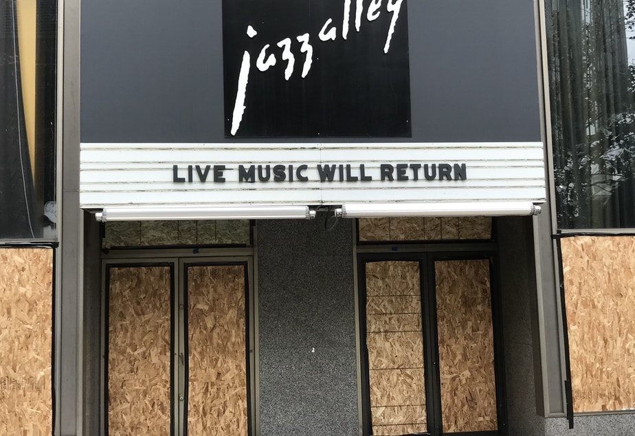 caption: Jazz Alley in downtown Seattle, November 2020