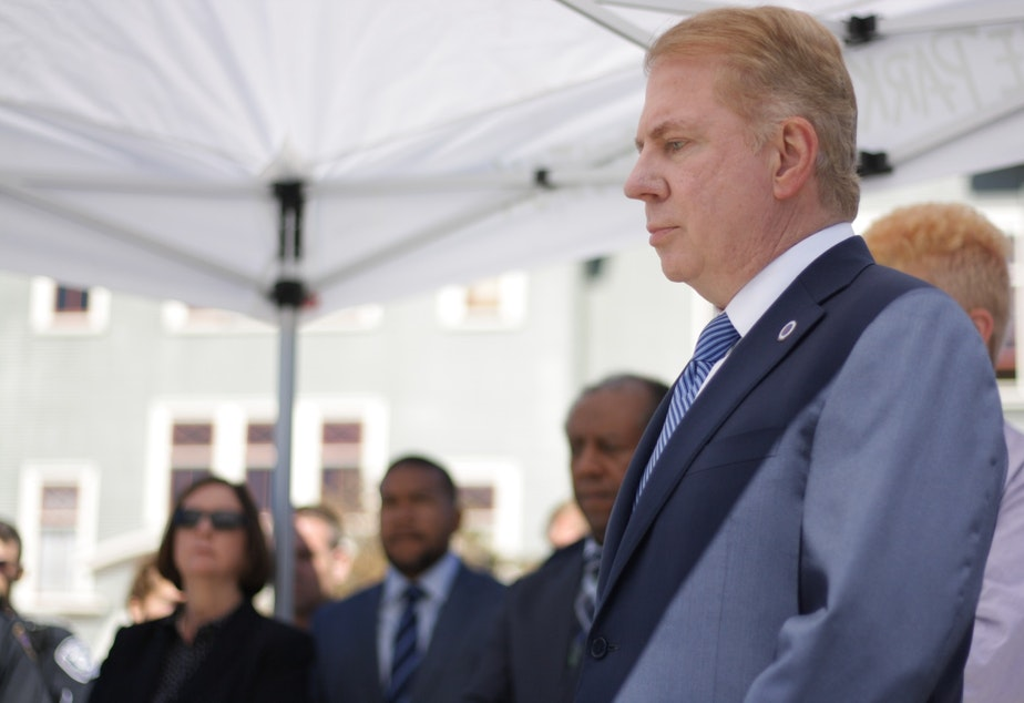 caption: Former Mayor Ed Murray at a press conference in the University District in September 2016. Murray resigned this week after his cousin accused him of sexual abuse in the mid-1970s.