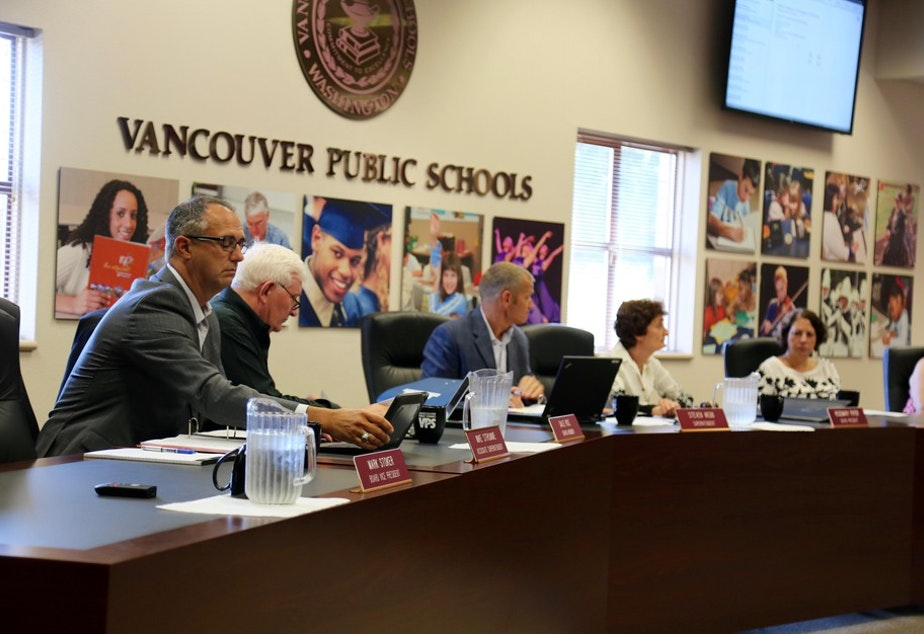 caption: Members of the Vancouver Public Schools board of directors Tuesday, Jan. 8, 2019. CREDIT: MOLLY SOLOMON/OPB
