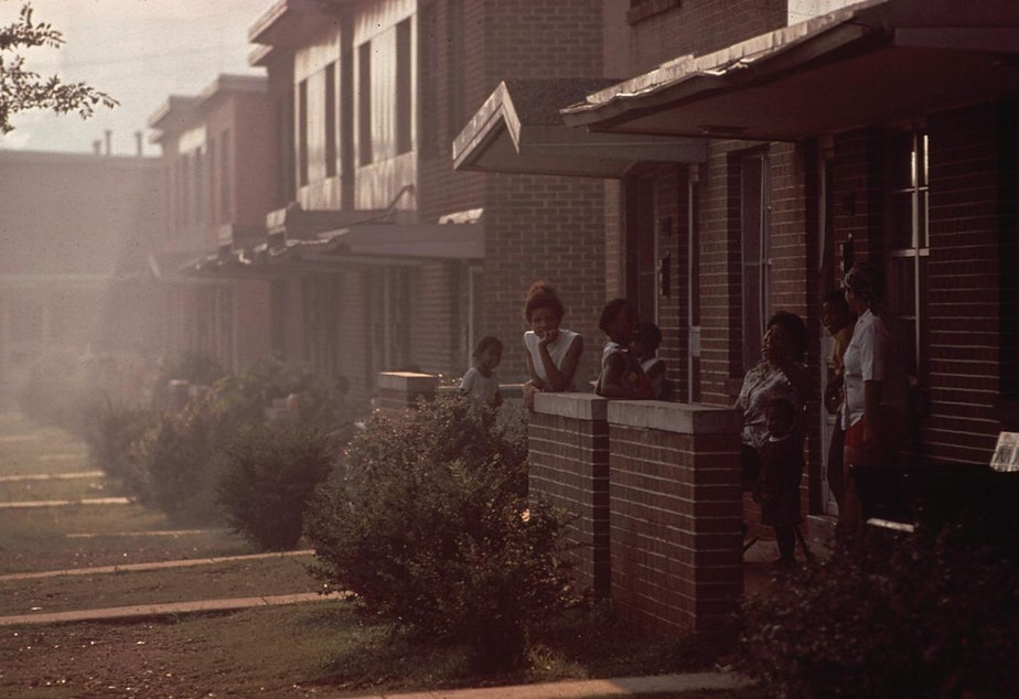 caption: Day becomes night when industrial smog is heavy in North Birmingham, Alabama, as on this day in July of 1972. Sitting adjacent to the U.S. Pipe plant, this is the most heavily polluted area of the city.