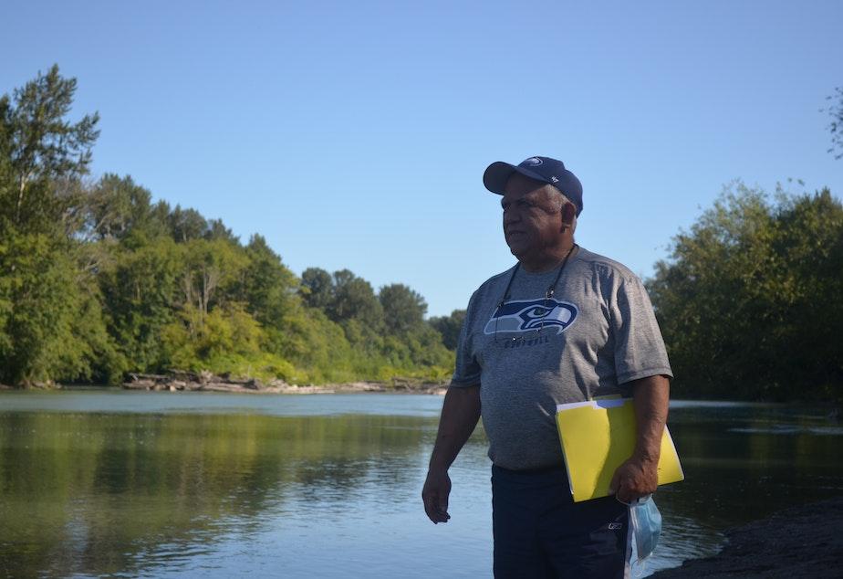 caption: Merle Jefferson of the Lummi Nation, along the Nooksack River near Bellingham Bay.
