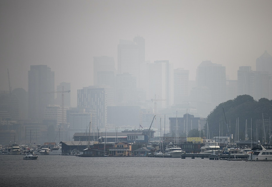 Downtown Seattle is barely visible from Fremont on Monday, August 20, 2018, in Seattle, when heavy smoke from wildfires returned to the area.
