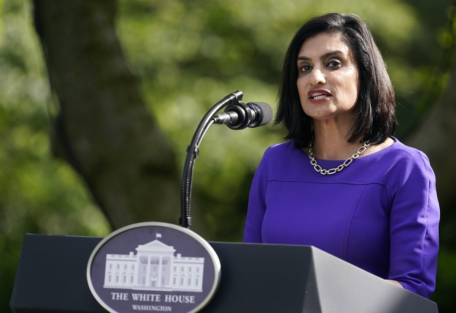 caption: Administrator of the Centers for Medicare and Medicaid Services Seema Verma, pictured at a White House event last month, says her agency will be stepping up fines for nursing homes that fail to sufficiently control infections.