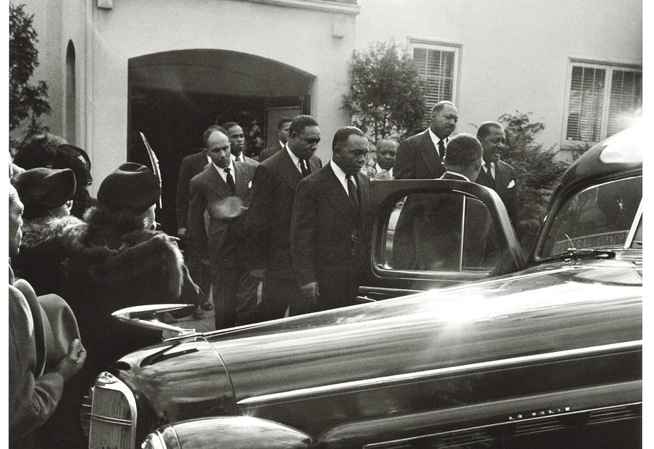 Pallbearers at a funeral for Al Herre, a member of the Royal Esquires, around 1939. (To help us ID the the pallbearers, note the photo number. This is #14.)