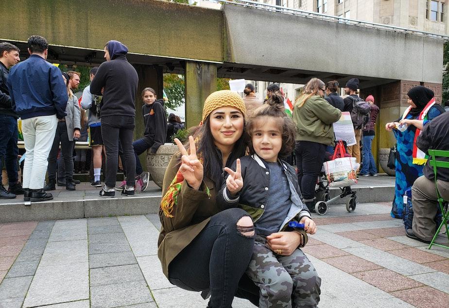 caption: Taban Abdulkadr and her son, Abdullah, named after Abdullah Öcalan, a founder of the Kurdistan Workers' Party.
