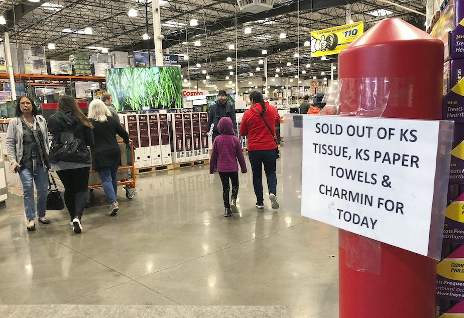 caption: Shoppers visit a Costco Wholesale in Tigard, Ore., Saturday, Feb. 29, 2020, after reports of Oregon's first case of coronavirus was announced in the nearby Oregon city of Lake Oswego on Friday. (AP Photo/Gillian Flaccus)