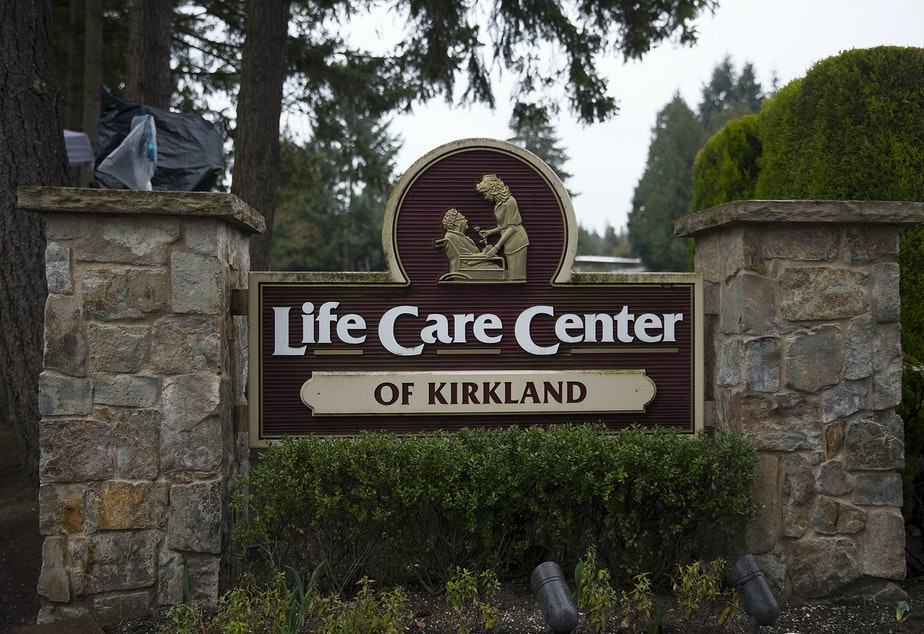 caption: The Life Care Center of Kirkland, a nursing care facility that has become the epicenter of the coronavirus outbreak in Washington state, is shown on Monday, March 2, 2020, in Kirkland.
