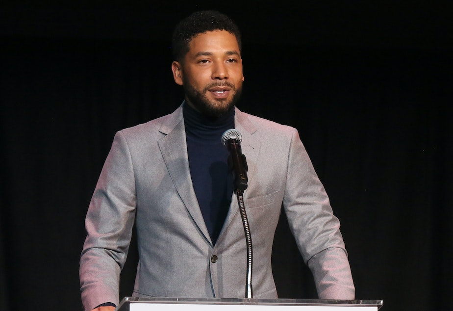 caption: Jussie Smollett, seen speaking last month at an awards ceremony held in Los Angeles by Children's Defense Fund California.