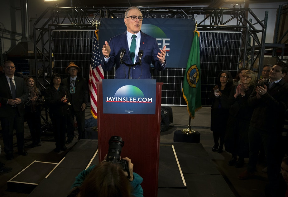 Governor Jay Inslee announces his candidacy for President on Friday, March 1, 2019, at A&R Solar on Martin Luther King Jr. Way in Seattle.