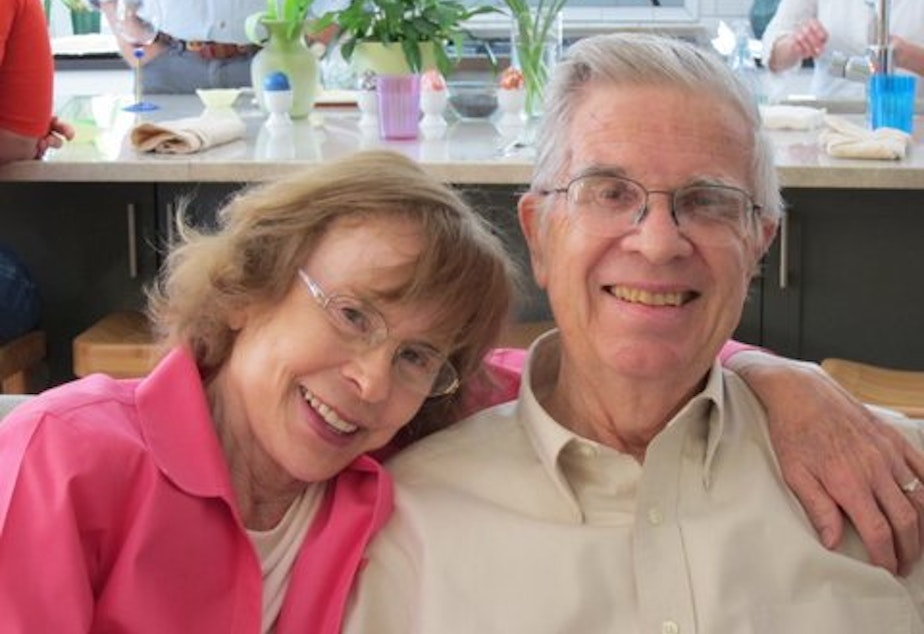 Greta Austin's family faced the issues surround end-of-life care when her father, George Austin, was diagnosed with cancer. He is pictured here with his wife, Shirley, On Easter Day, 2013.
