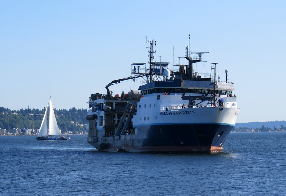 caption: The research vessel Marcus Langseth approaches the Port of Seattle on July 11, 2021, after a 41-day seismic survey of the Cascadia Subduction Zone.