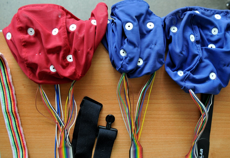 caption: Concussion study testing equipment.