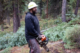 Grayback Forestry crew boss Bob Larkin at work on a thinning project in the Malheur National Forest.