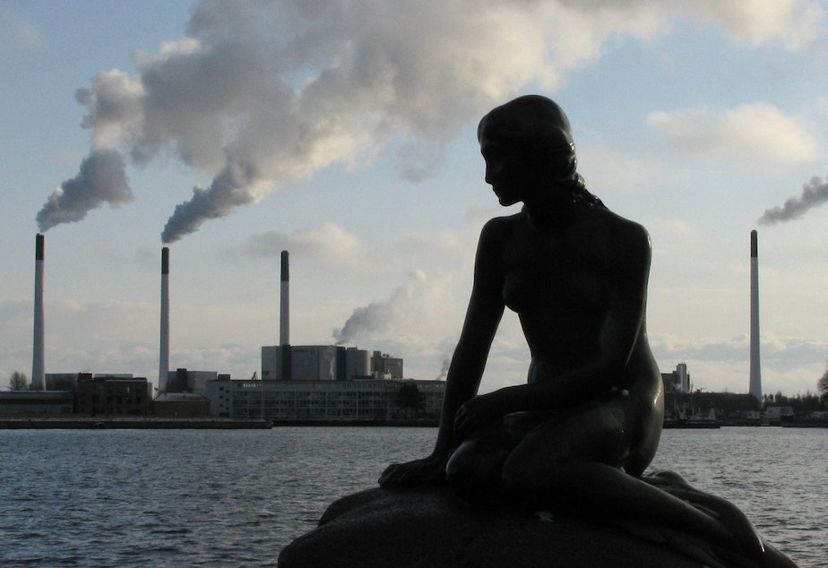 Picture taken during the Copenhagen COP15 climate conference. The little mermaid and the symbols of climate change in the background.