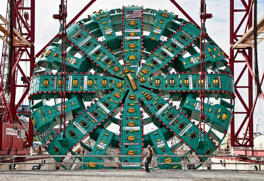 caption: Bertha's face, seen here before starting the state Route 99 tunnel, will need to be removed for repairs.