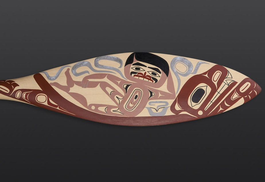 caption: Burt Reynolds, by Tlingit artist Alison Marks, is an answer to the male gaze in contemporary Northwest Coastal art.