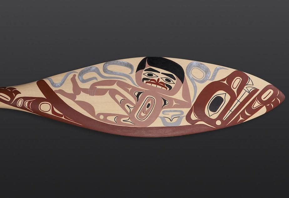 Burt Reynolds, by Tlingit artist Alison Marks, is an answer to the male gaze in contemporary Northwest Coastal art.