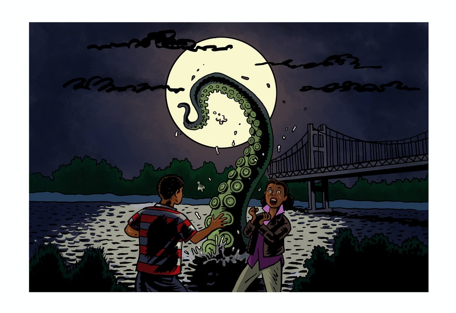 caption: A 15-year-old boy from Tacoma was walking down Titlow Beach with a girl he liked when he saw a giant thing - that looked like an octopus tentacle - emerge from the water. He ran, screaming.