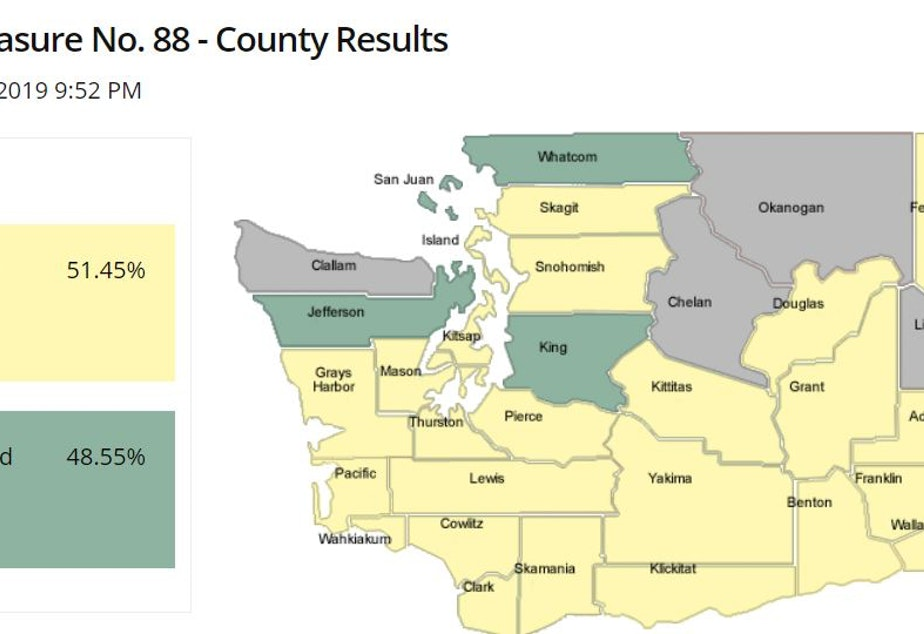 caption: A map from the Washington Secretary of State website that shows where voters approved a referendum to bring back affirmative action to the state. Voters in counties that are highlighted green support affirmative action (per early returns); voters in the yellow counties did not.