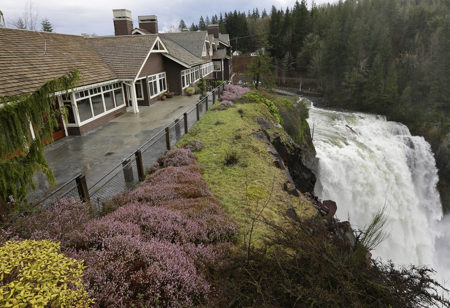 caption: Snoqualmie Falls, as seen next to the Salish Lodge.