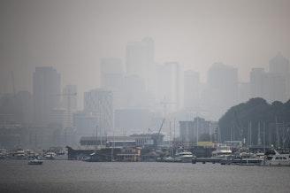 Smoke shrouds Seattle's Lake Union on Monday.