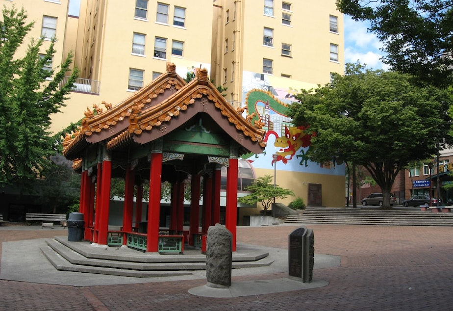 caption: Hing Hay Park in Seattle's International District.