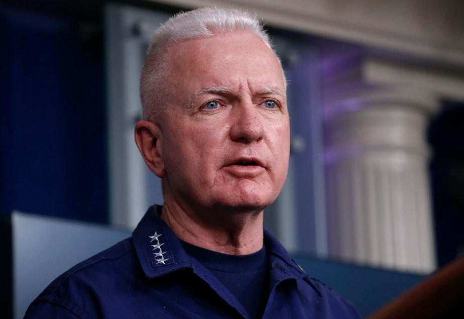 caption: Adm. Brett Giroir, who has been leading federal coronavirus testing efforts, speaks during one of the daily White House coronavirus task force briefings in April.