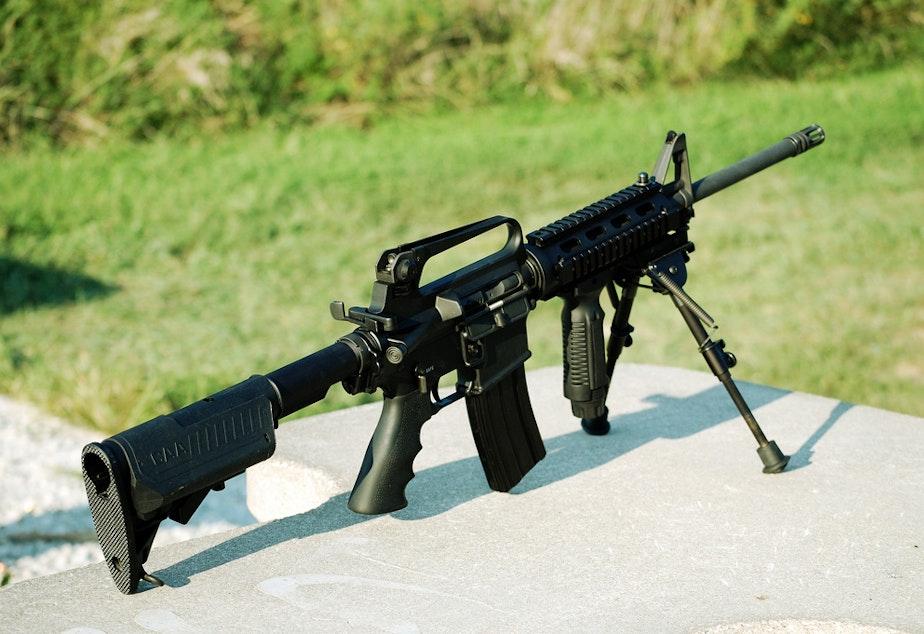 caption: An M16 rifle.