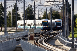 Sound Transit's light rail shot from the SeaTac Airport Station.