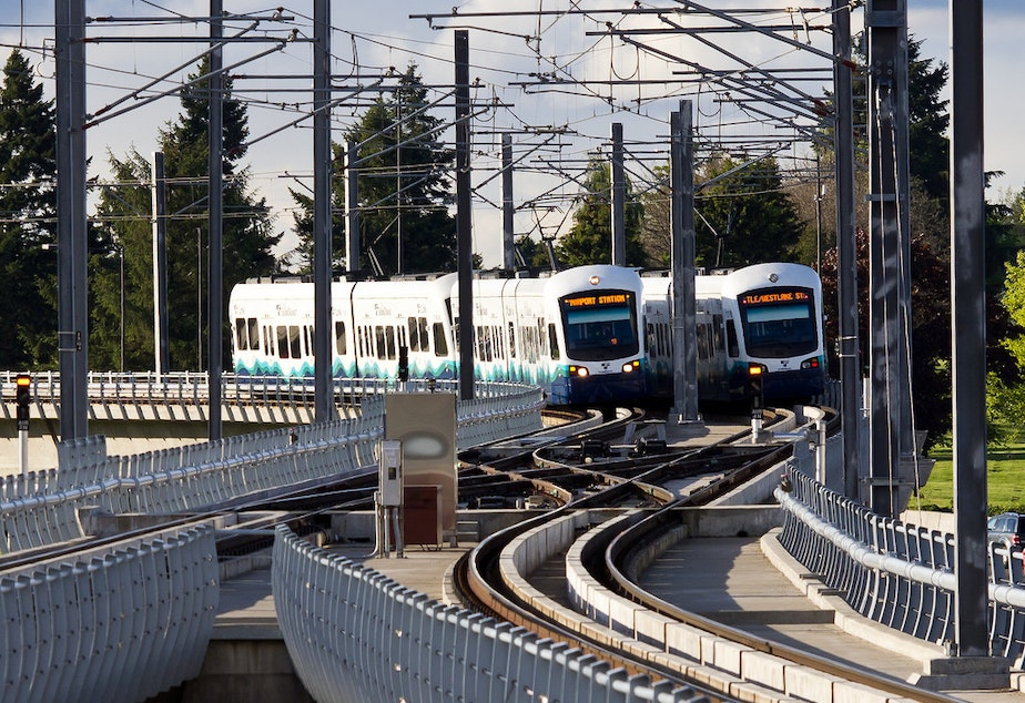 caption: Sound Transit's light rail shot from the SeaTac Airport Station.