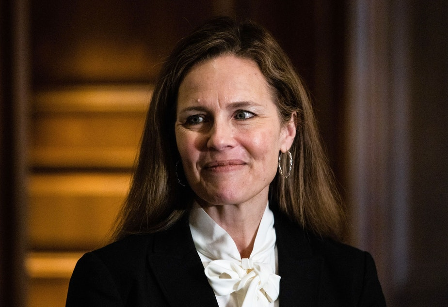 caption: Judge Amy Coney Barrett, pictured on Capitol Hill on Oct. 1, is participating in her Supreme Court confirmation hearings this week.