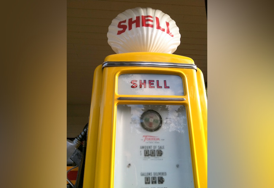 A historic gas pump in Issaquah, Wash. Seattle Mayor Mike McGinn wants his city to divest from fossil energy companies.
