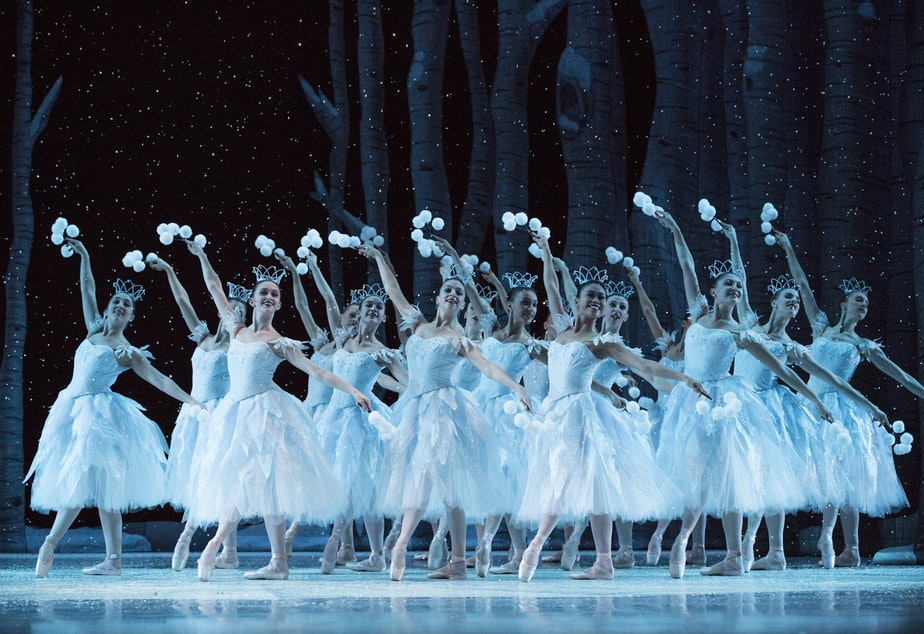 "caption: Pacific Northwest Ballet dancers in George Balanchine's ""The Nutcracker"""